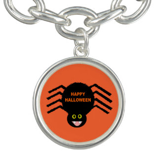 Halloween Black Spider Charm Bracelet