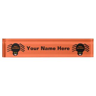 Halloween Black Spider Custom Nameplate