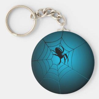 Halloween Black Spider on Web Keychain