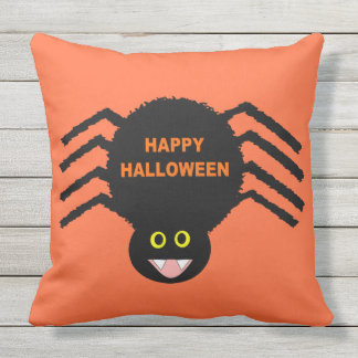 Halloween Black Spider Outdoor Pillow