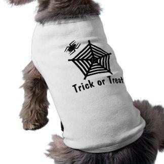 Halloween Black Spider Trick or Treat Doggie Tee