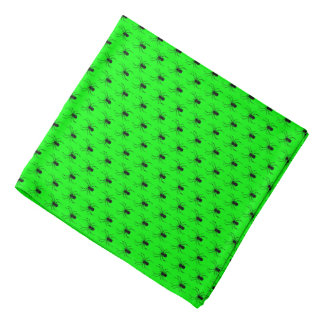 Halloween Black Spiders on Lime Green Bandana