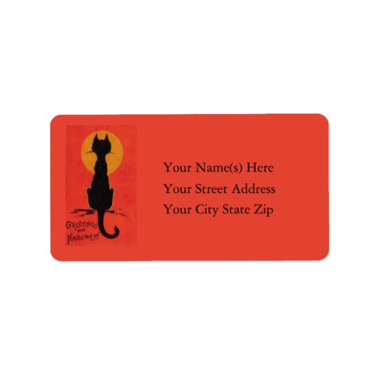 Halloween Blackest of Cats Vintage Label