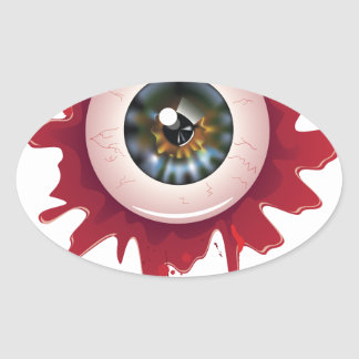 Halloween Bloody Eyeball3 Oval Sticker