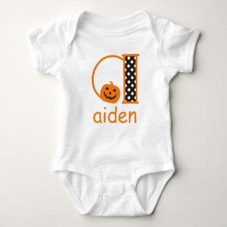 Halloween Bodysuit w Pumpkin Monogram Initial a