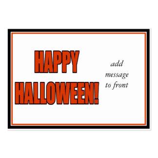 Halloween Bold Orange & Black Text Business Cards