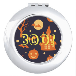 Halloween Boo! House Bats Trees Pumpkin Pattern Travel Mirror
