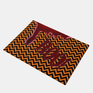 Halloween Boo Scary Bloody Orange Black Chevrons Doormat
