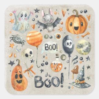 Halloween - Boo Watercolor Cuties Square Sticker