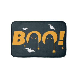 "Halloween ""boo"" with bats spiders bath mat"