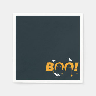"""Halloween """"boo"""" with bats spiders paper napkins"""