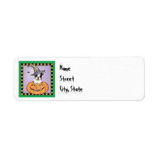 Halloween Boston Terrier Return Address Label