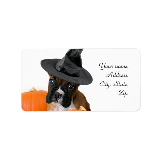 Halloween boxer puppy label