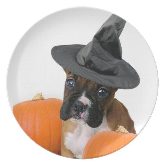 Halloween boxer puppy plate