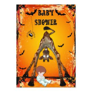 "Halloween Boy Baby Shower Funny Giraffe 5"" X 7"" Invitation Card"