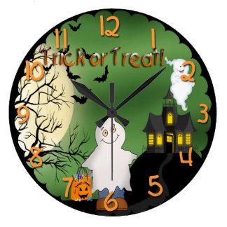 Halloween Boy Ghost Round Wall Clock