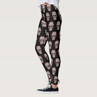 Halloween Bright Mexican Sugar Skulls Pattern Leggings