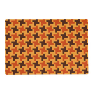 Halloween Brown Bricks Pattern on Yellow Laminated Placemat