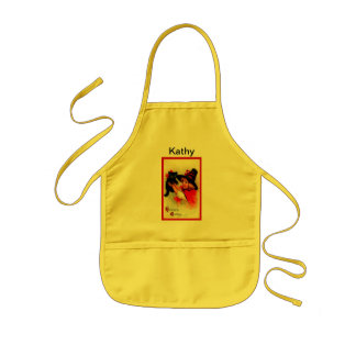 Halloween Brundage Girl with Black Hat and Cat Kids Apron