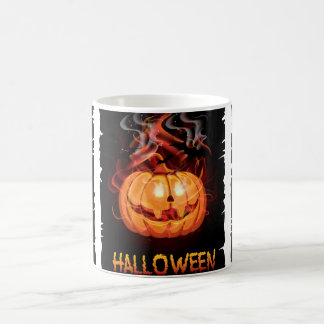 Halloween burning pumpkin and bats coffee mug