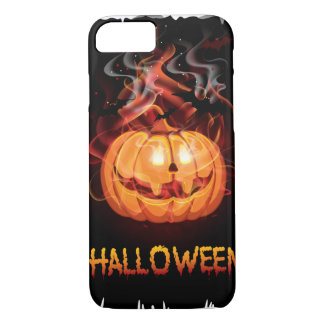 Halloween burning pumpkin and bats iPhone 7 case