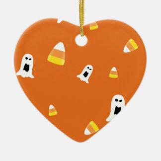 Halloween Candycorn Ceramic Heart Ornament