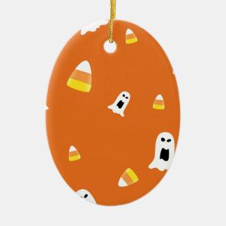 Halloween Candycorn Ceramic Oval Ornament