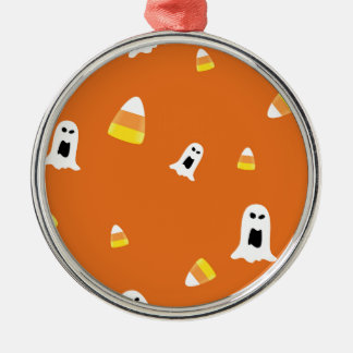Halloween Candycorn Silver-Colored Round Ornament