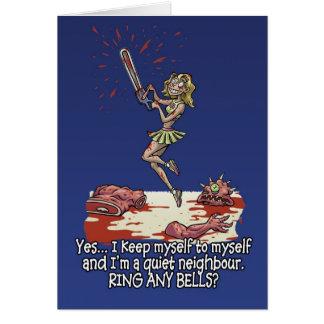 Halloween card Humour fun chainsaw woman