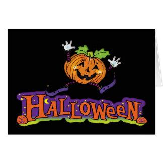 Halloween card with jolly pumpkin