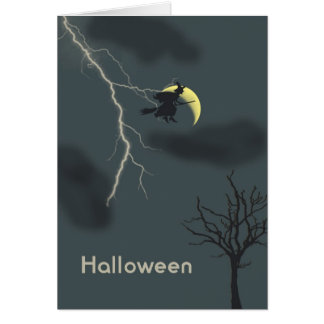 Halloween Card with Witch, Lightning & Moon