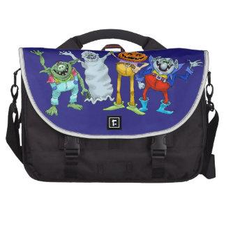Halloween cartoon creatures waving, bag. laptop messenger bag
