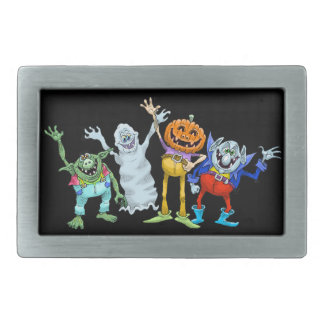 Halloween cartoon creatures waving, belt buckle. rectangular belt buckles
