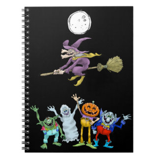 Halloween cartoon creatures waving, notebook. notebooks