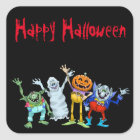Halloween cartoon creatures waving, stickers. square sticker
