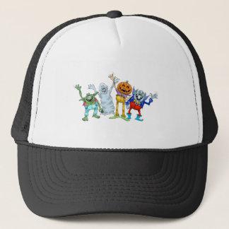 Halloween cartoon creatures waving trucker hat