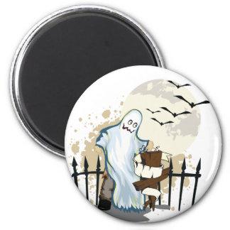 Halloween cartoon ghost in cemetery magnet
