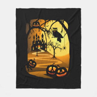 Halloween Castle Fleece Blanket