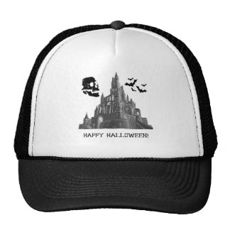 Halloween Castle with Skull and Bat Mesh Hat