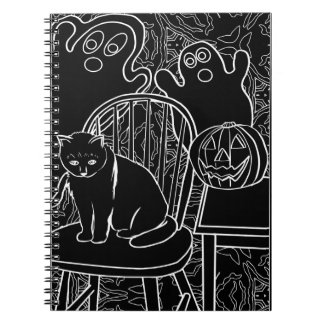 Halloween Cat and Ghosts Notebook
