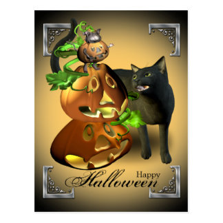 Halloween Cat and Mouse Games Postcard