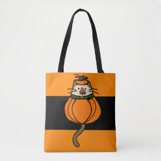 Halloween Cat Costume Pumpkin Trick or Treat Bag