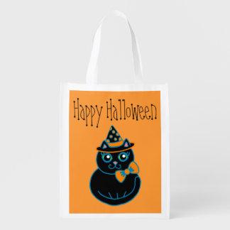 Halloween Cat Grocery Bag