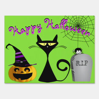 Halloween Cat Pumpkin Spider Grave Boo Lawn Sign
