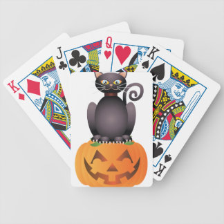Halloween Cat Sitting on Pumpkin Illustration Bicycle Playing Cards