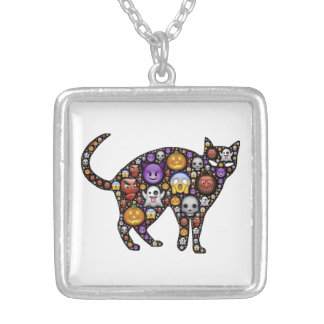 HALLOWEEN CAT SQUARE PENDANT NECKLACE