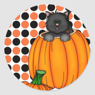 Halloween Cat T-shirts and Gifts Classic Round Sticker
