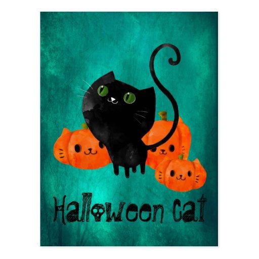 Halloween Cat with Pumpkins Postcards