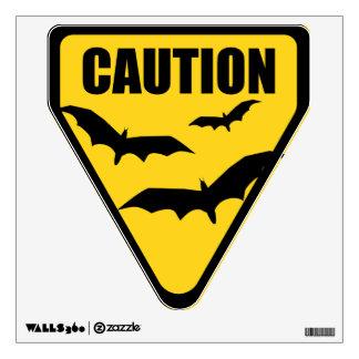 Halloween Caution Bats Sign Wall Decal
