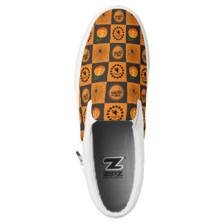 Halloween Chessboard Slip-On Sneakers
